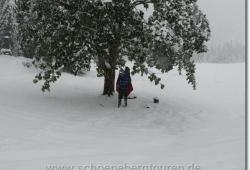 Kurze Rast unterm Baum am Kleinen Ahornboden