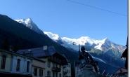 Blick zum Mont Blanc Massiv bei Chamonix