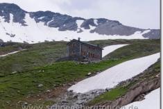 Berghütte unterhalb des Col de la Seigne