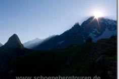 Abendsonne hinterm Mont Blanc de Courmayeur