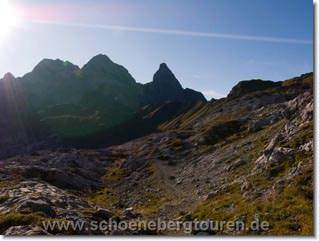 Der Heilbronner Weg mit Maedelegabel und Trettach-Spitze