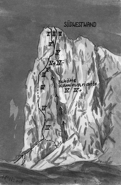 Sass de Mesdi - Suedwestwand