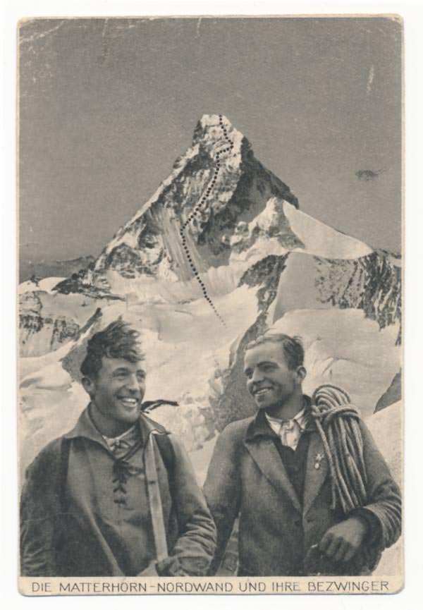 Postkarte mit Franz und Toni Schmid