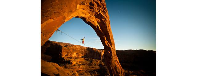 Lukas Irmler - First highline in the Corona Arch Moab