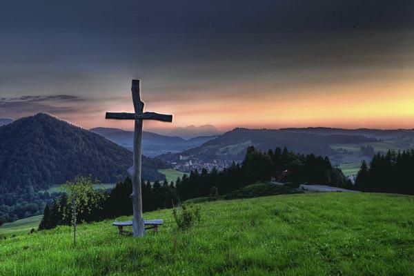 Oberstaufen - Sonnenuntergang mit Landschaft