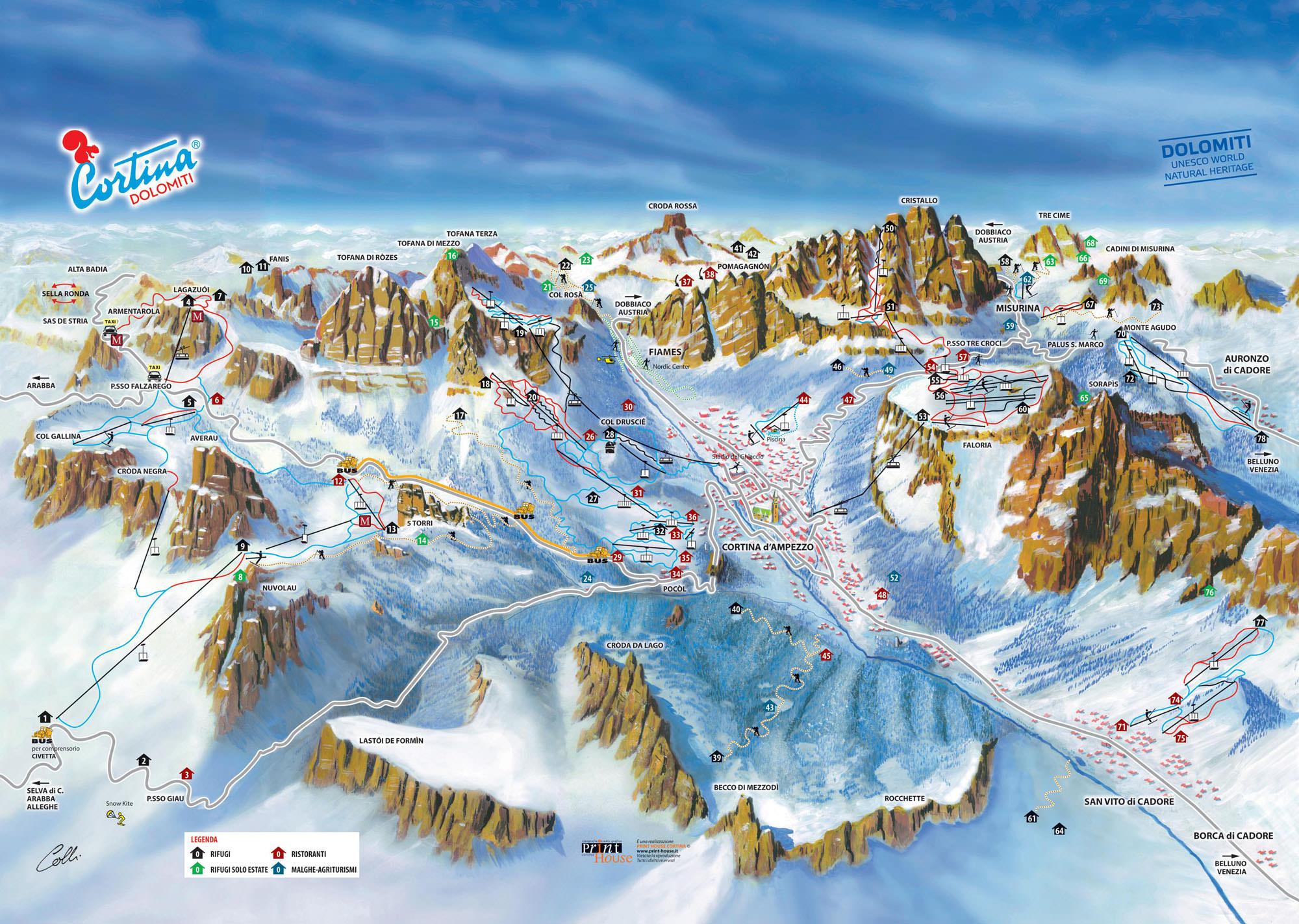Pistenplan - Cortina dAmpezzo