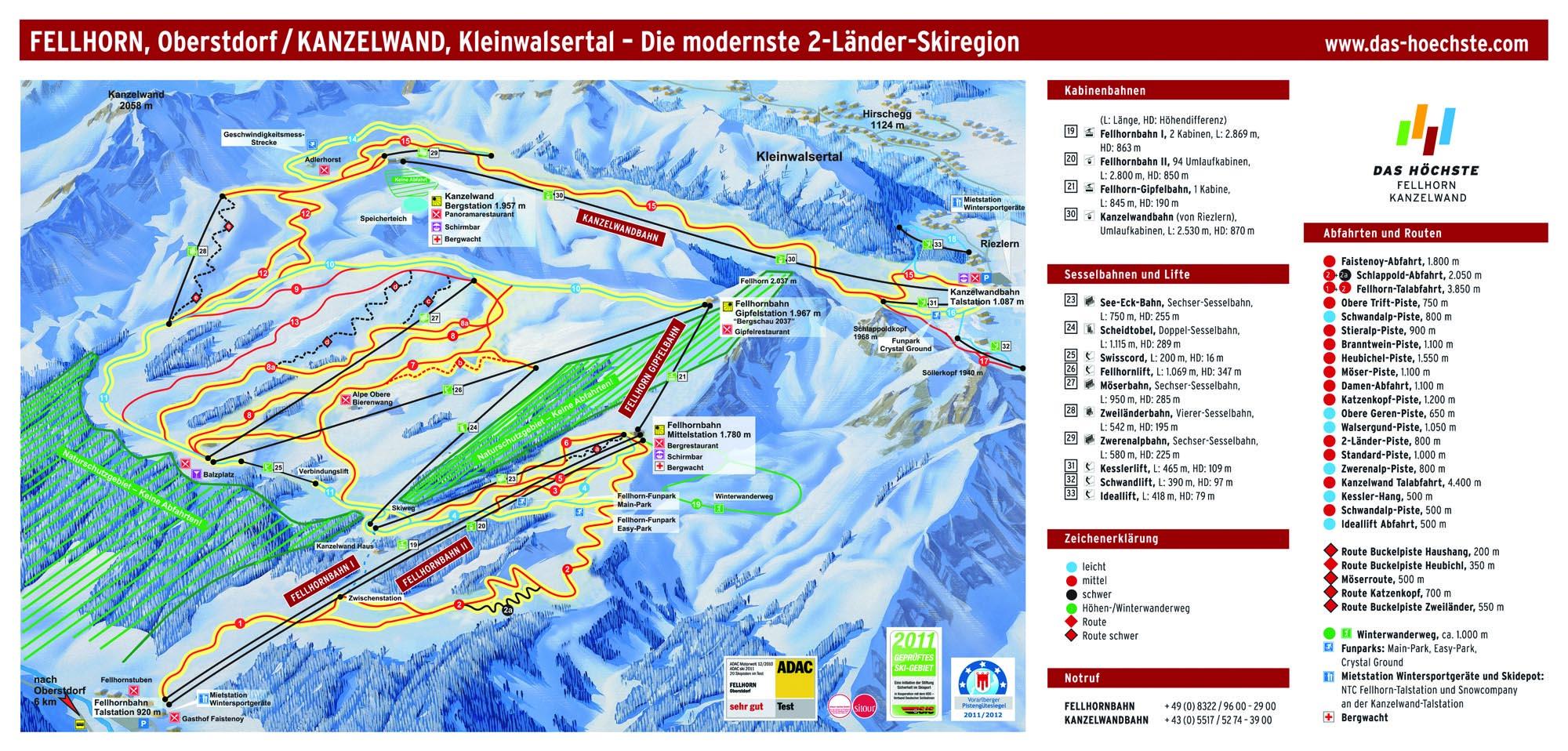 Pistenplan - Fellhorn-Kanzelwand