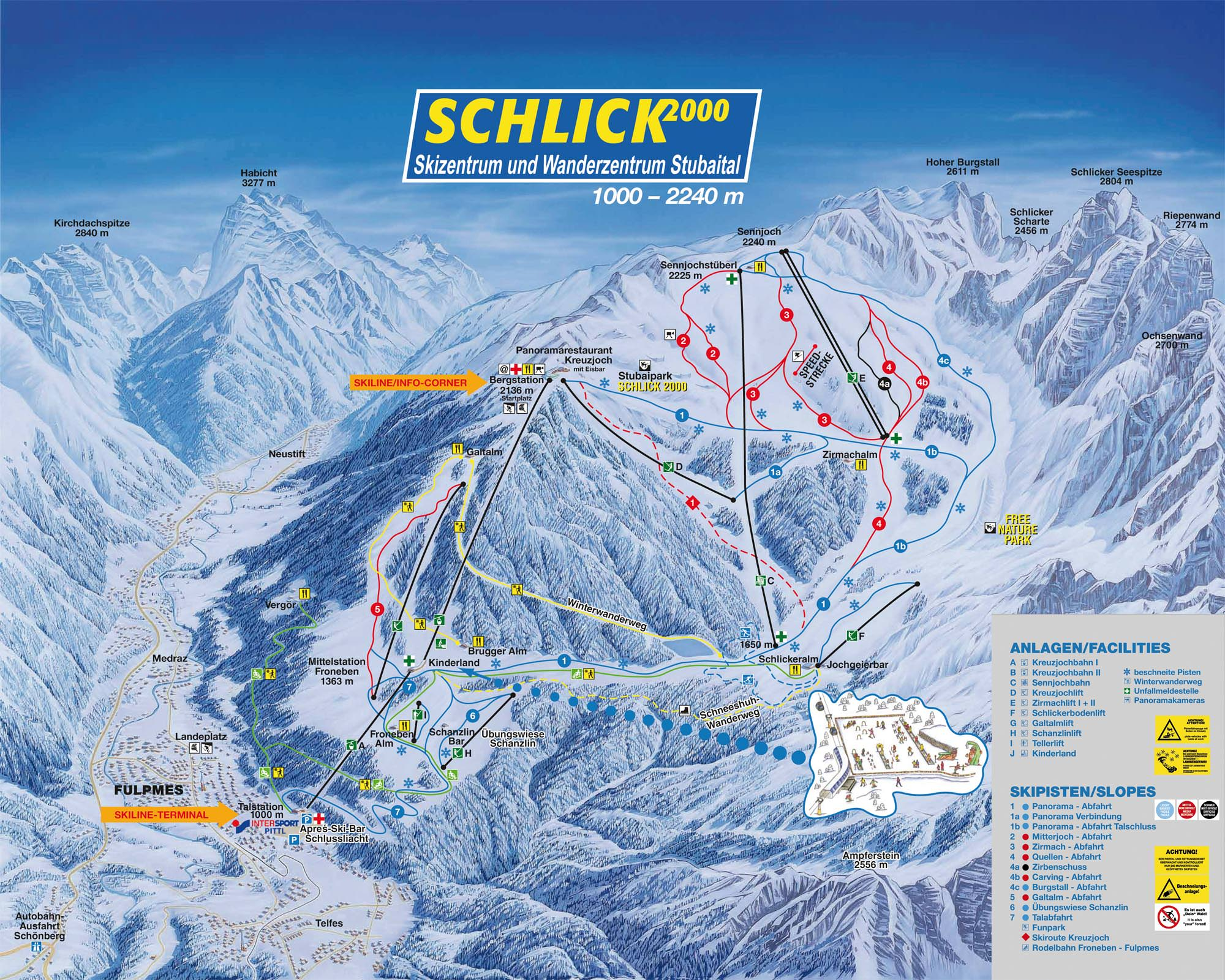 Pistenplan Fulpmes - Schlick 2000