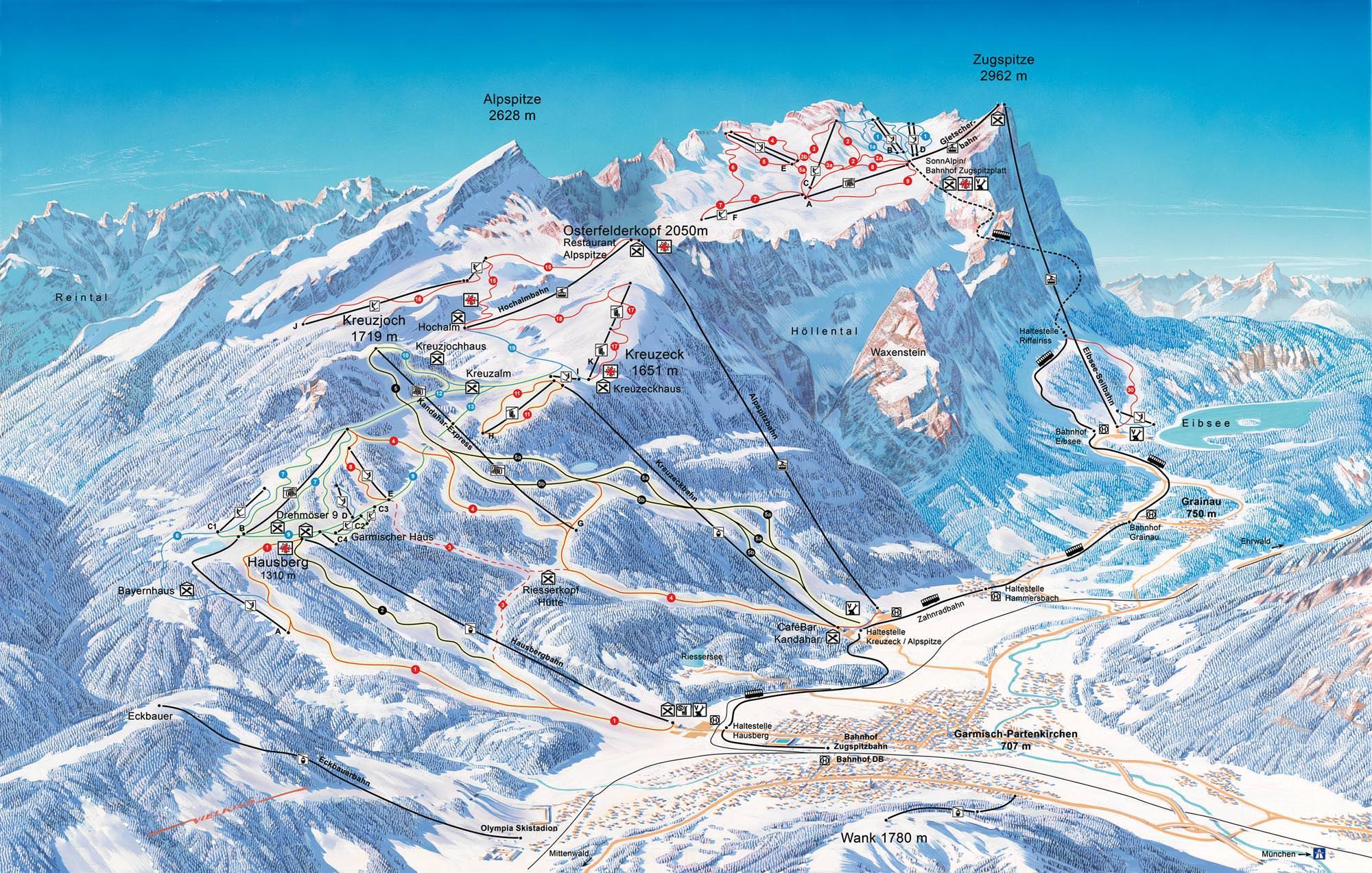 Pistenplan Garmisch-Classic - Zugspitze