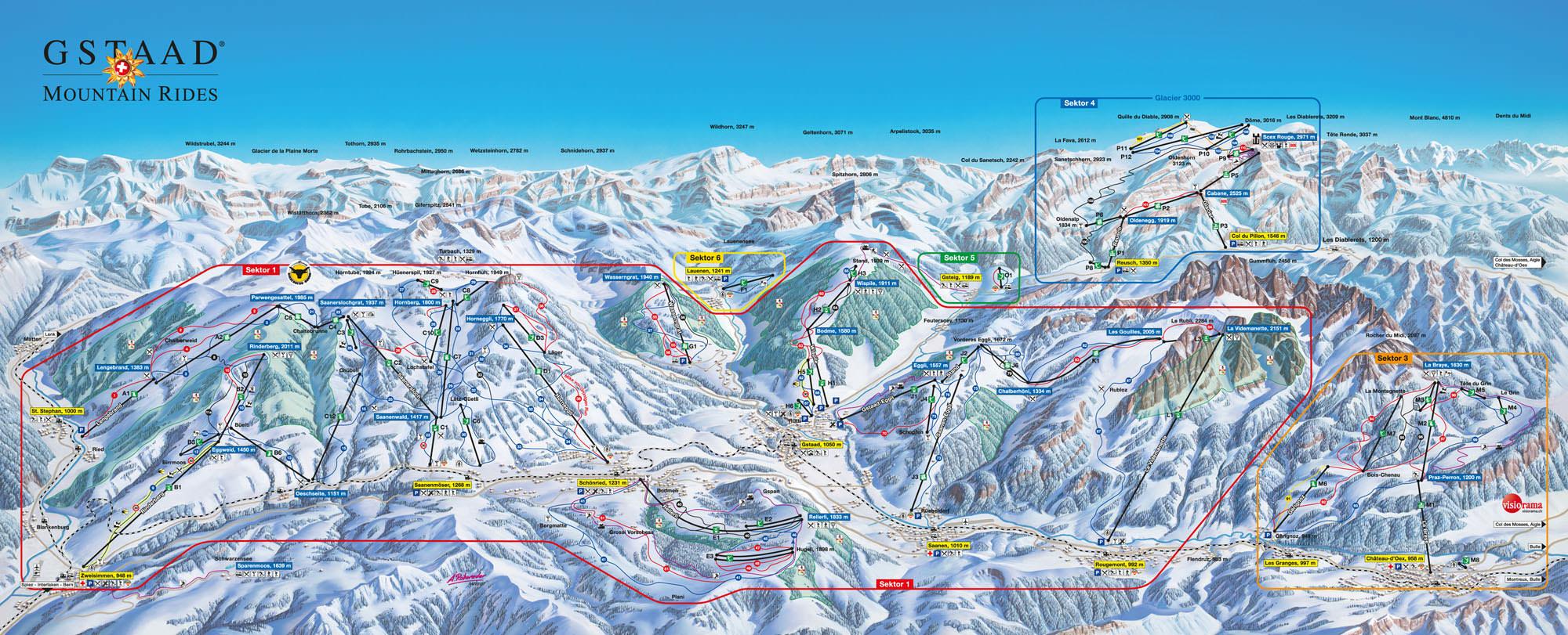 Pistenplan - Gstaad - Rinderberg - Saanerslochgrat