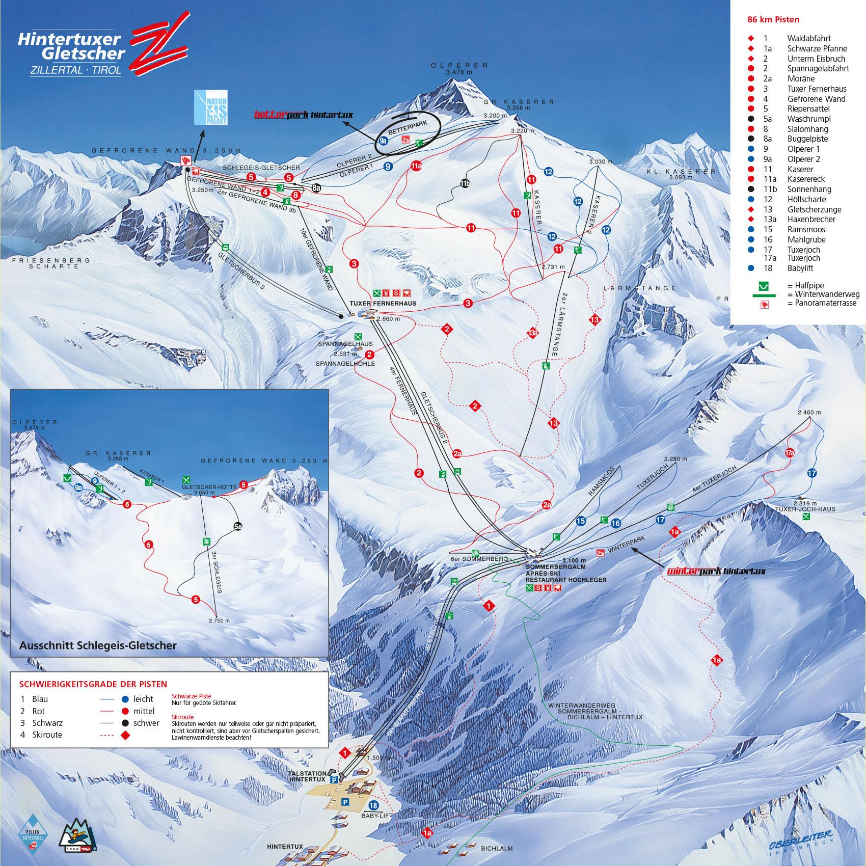 Pistenplan - Hintertuxer Gletscher