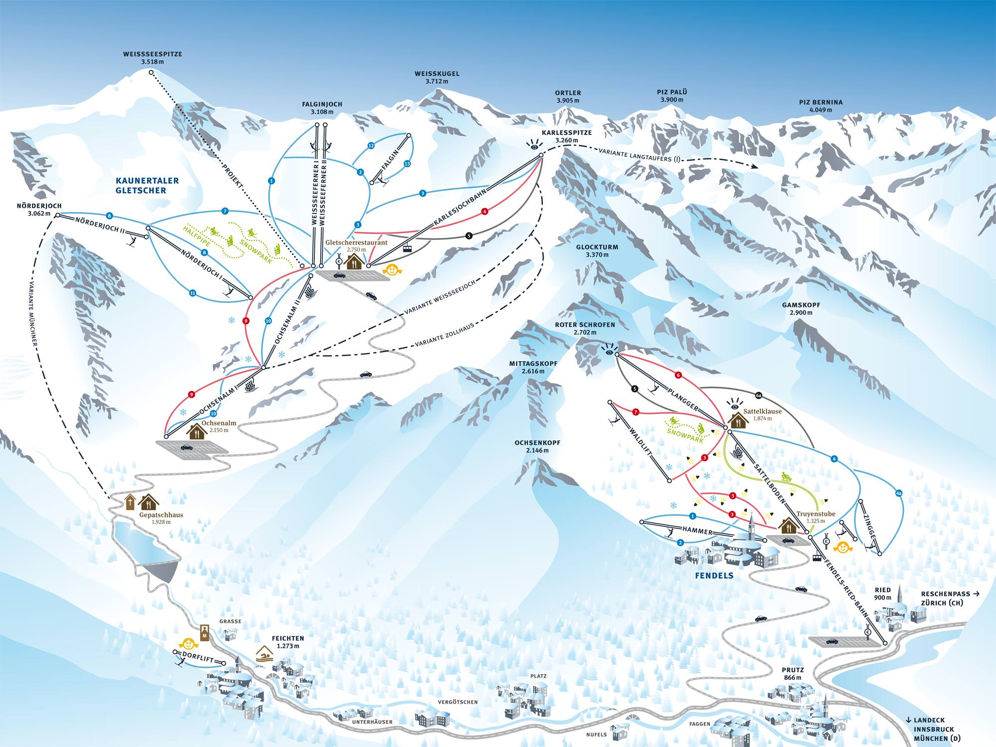 Pistenplan - Kaunertaler Gletscher