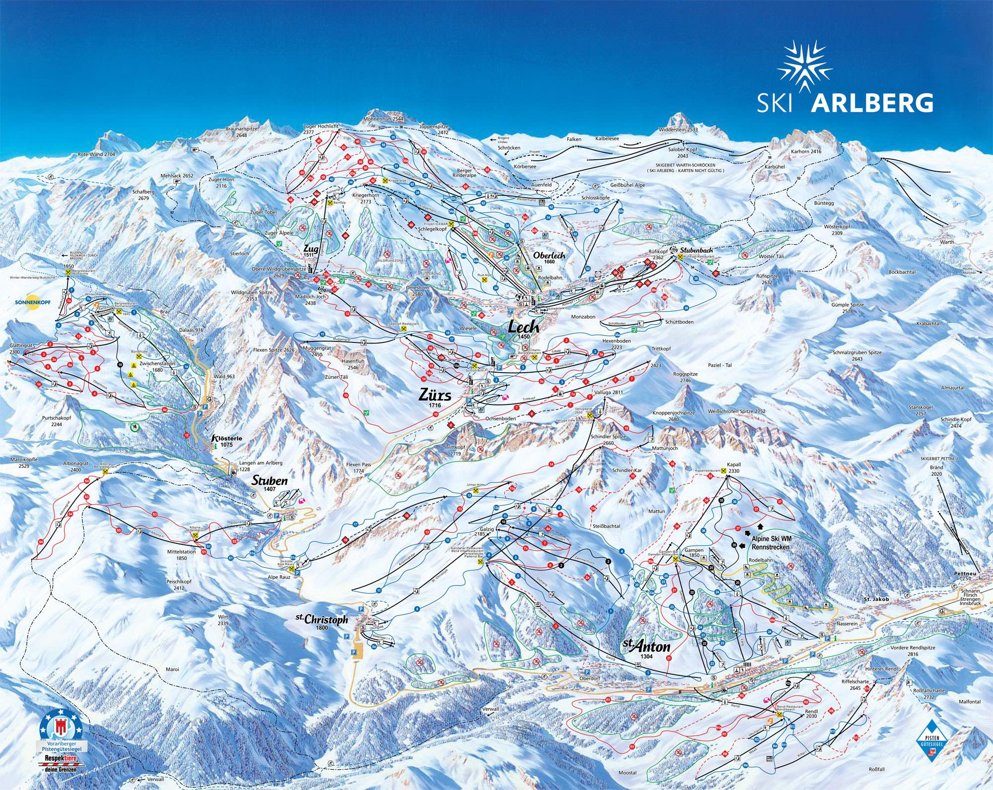 Pistenplan - Lech Zuers am Arlberg