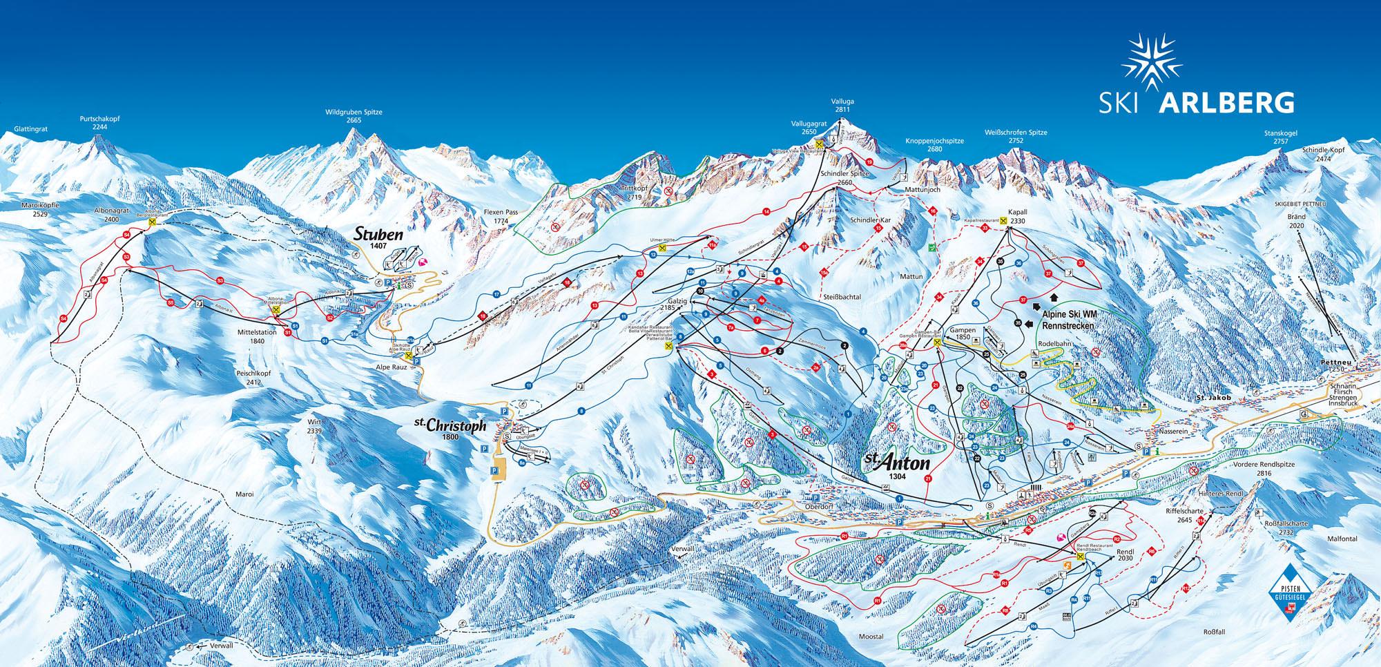 Pistenplan - St Anton am Arlberg - St Christoph - Stuben