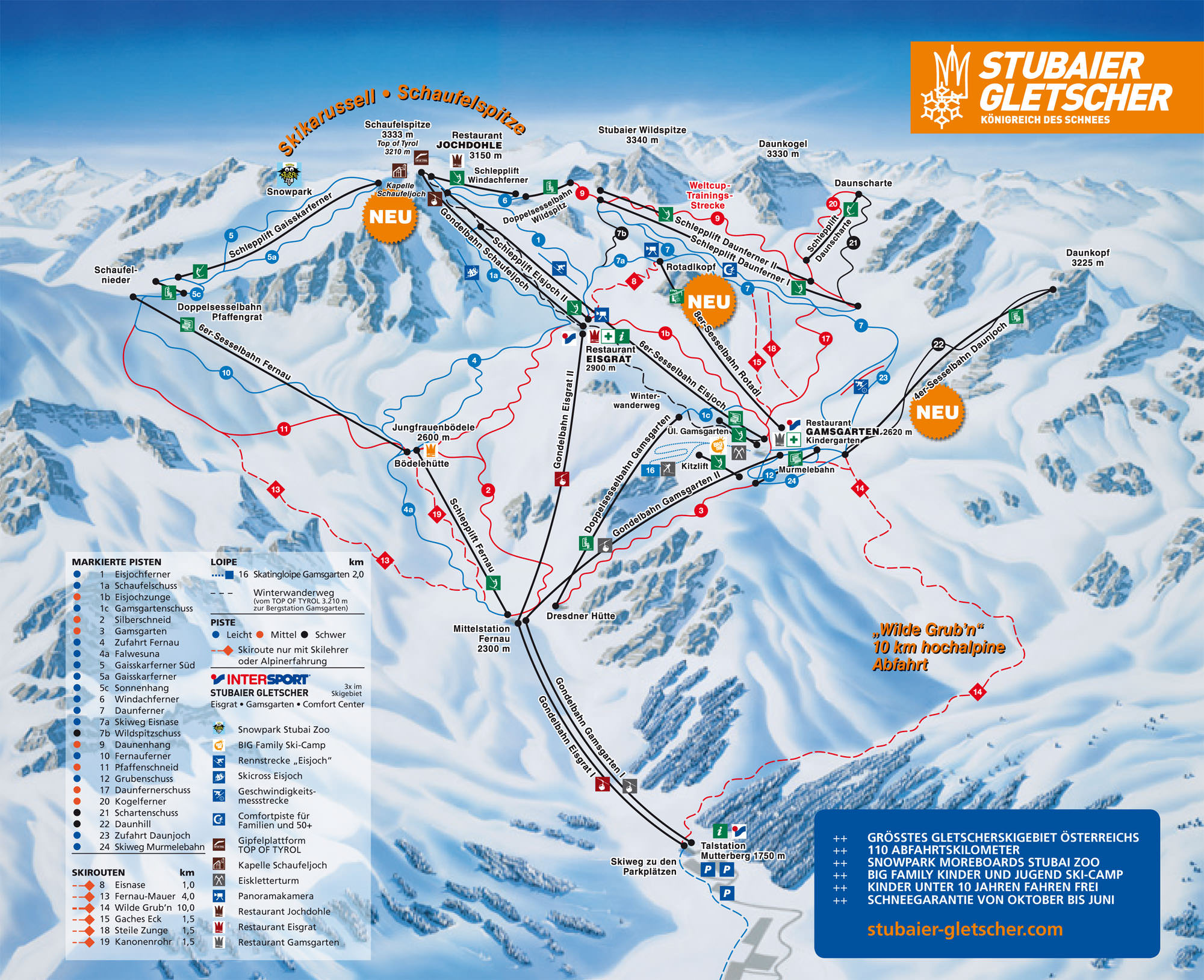 Pistenplan - Stubaier Gletscher