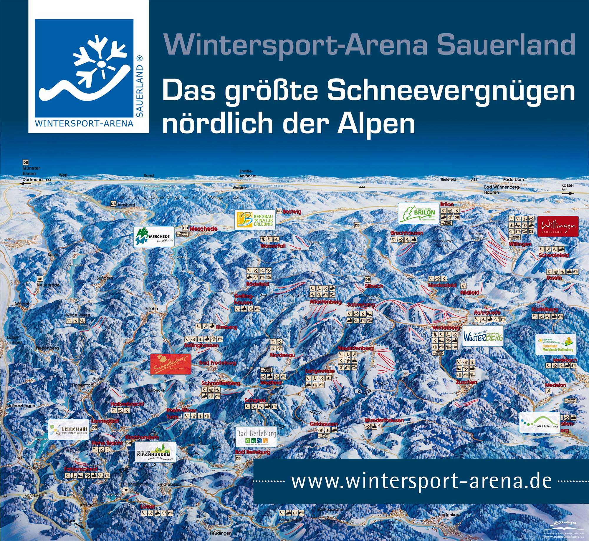 Pistenplan - Winterberg - Skiliftkarussell