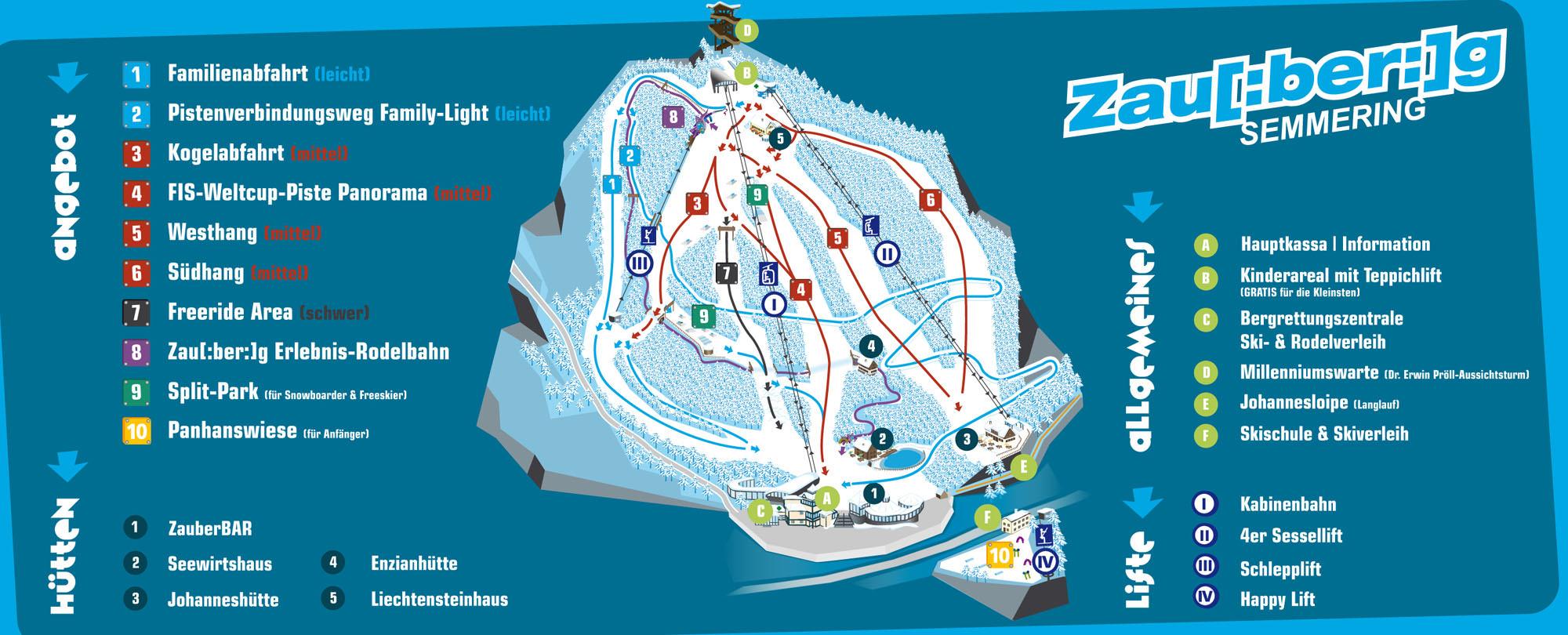 Pistenplan - Zauberberg-Semmering