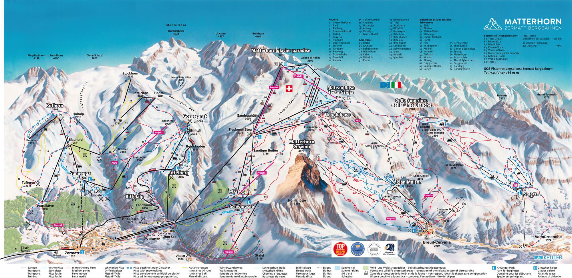 Pistenplan Zermatt - Cervinia