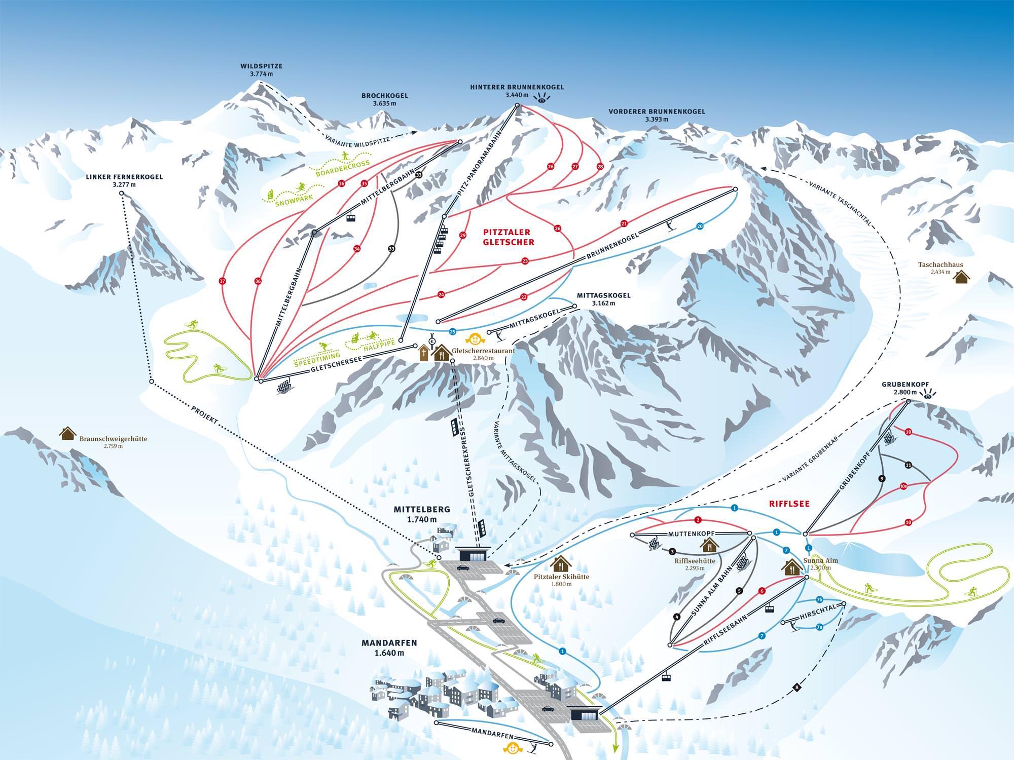Pistenplan - Pitztaler Gletscher