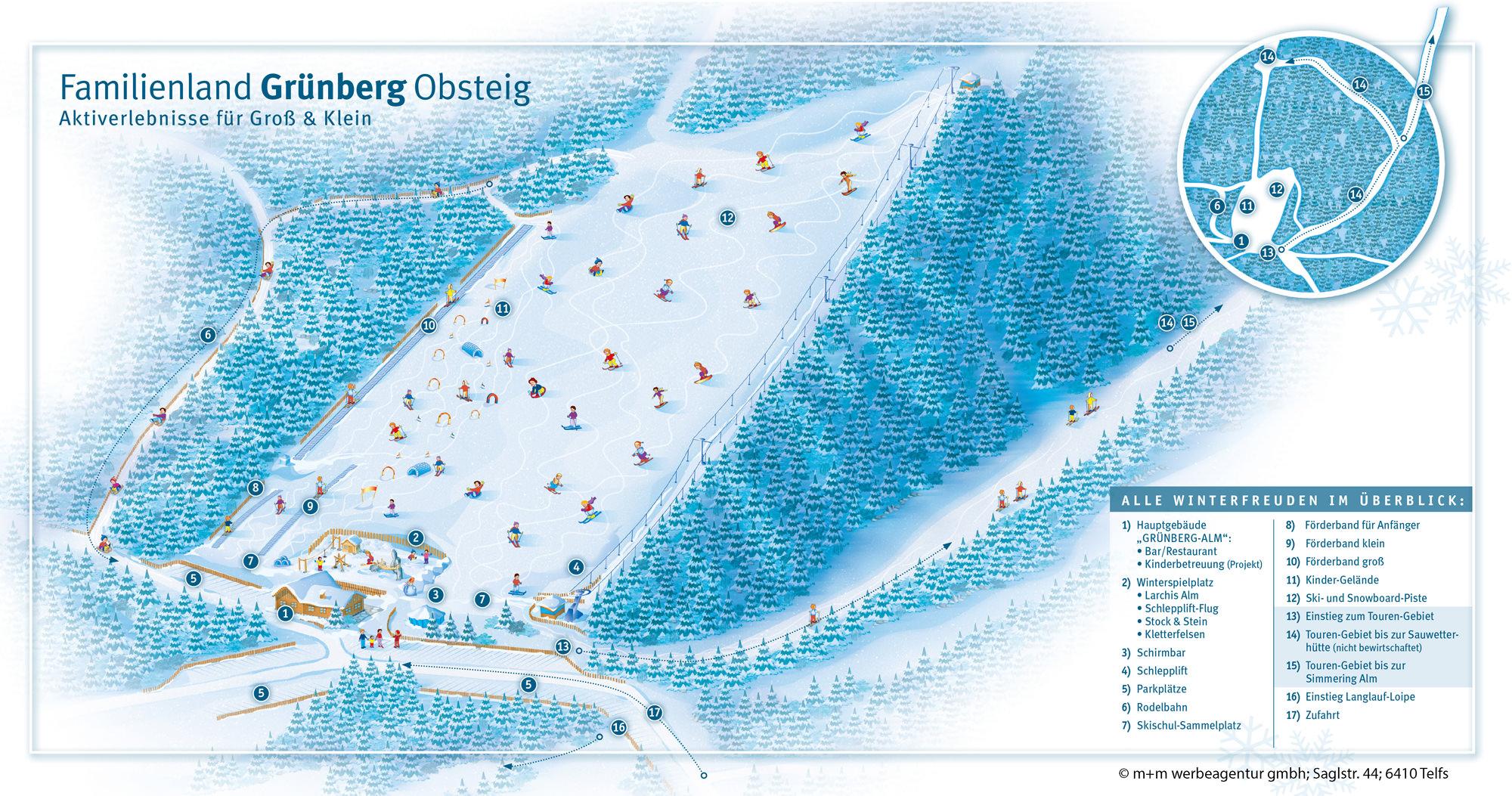 Pistenplan Obsteig - Gruenberg