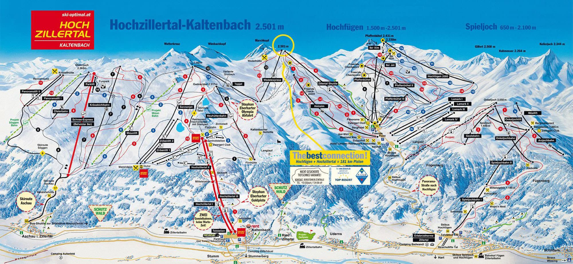Pistenplan Ski-optimal Hochzillertal