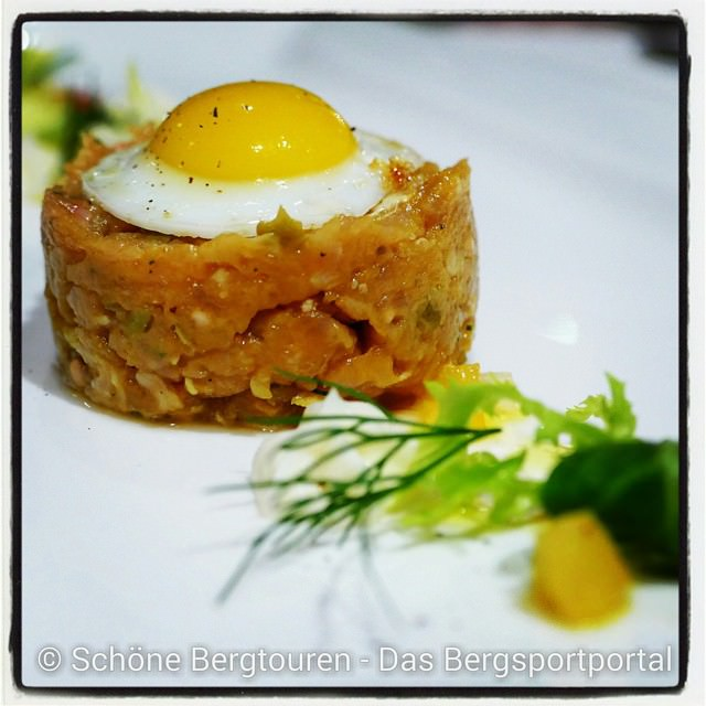 Spicy veal tartar with quail egg in the hotel Magdalenahof…