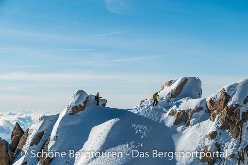 Chamonix - Bergsteiger am Aiguille du Midi