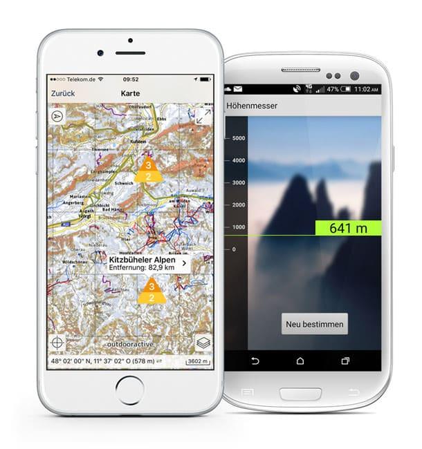 Ortovox Bergtouren App - Lawinenwarnstufe Hoehenmesser