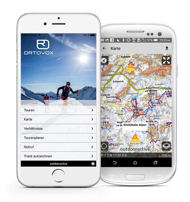 Ortovox Bergtouren App - Startscreen Lawinenwarnstufe