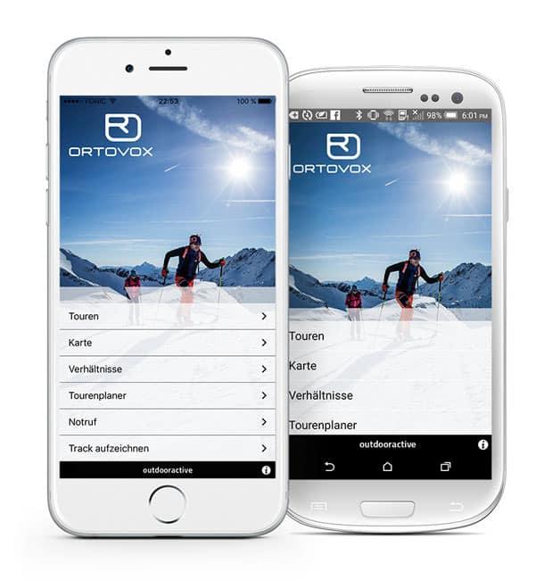 Ortovox Bergtouren App - Startscreen