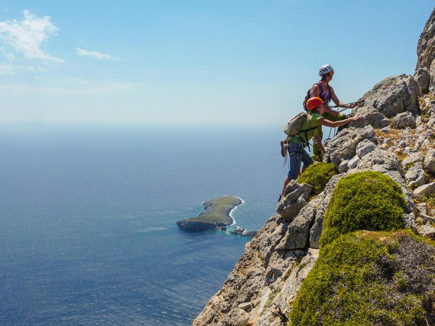Bergauf-Bergab - Sichern hoch ueber der Aegais