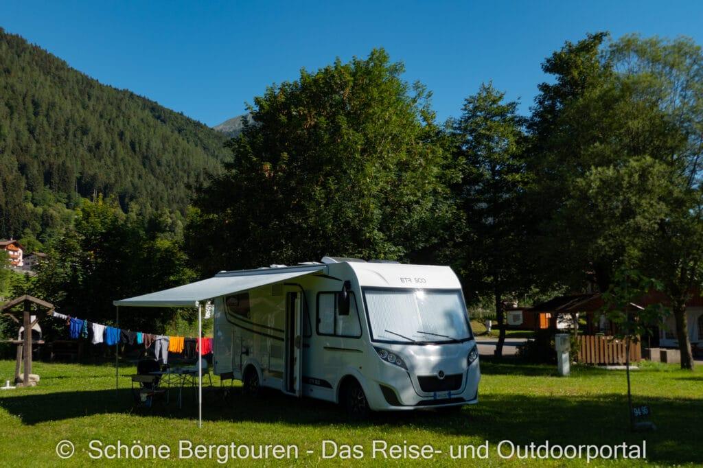 Wohnmobiltour Trentino - Etrusco Wohnmobil auf dem Camping Val Rendena